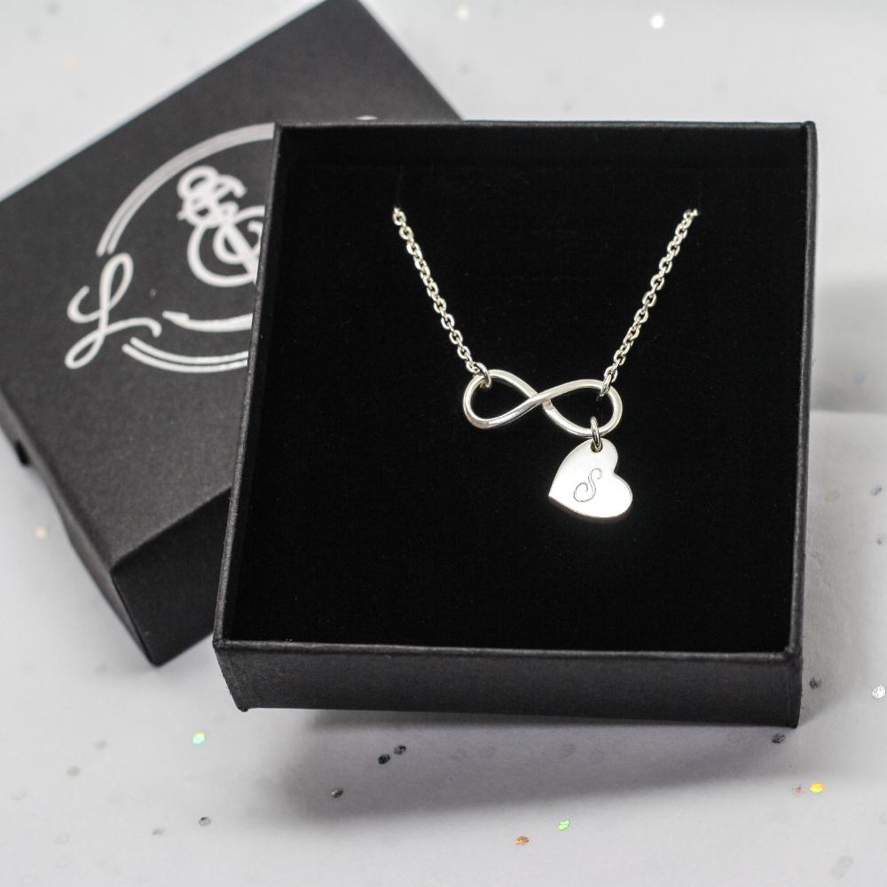 Handmade Silver Infinity & Personalised Heart Necklace by lulu & charles handmade bespoke jewellery for 21st birthday present. Handmade in county durham uk.