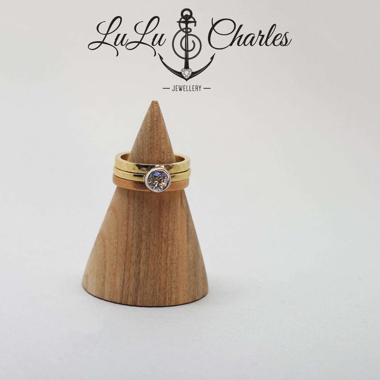 Handmade 18ct yellow gold diamond engagement ring and wedding stacker ring by lulu & charles jewellery, county durham UK.