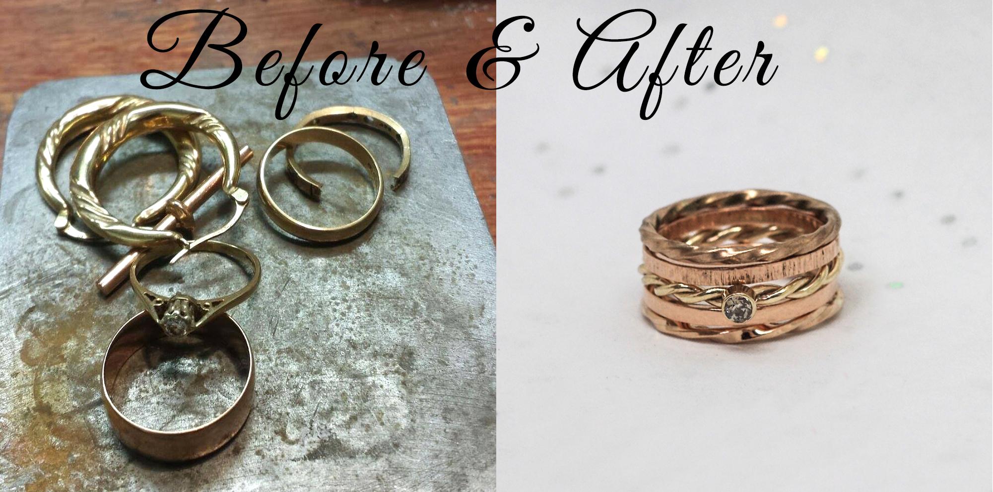 Remodelled gold jewellery service by lulu & charles jewellery, bespoke handmade jewellery newcastle tyne & wear uk