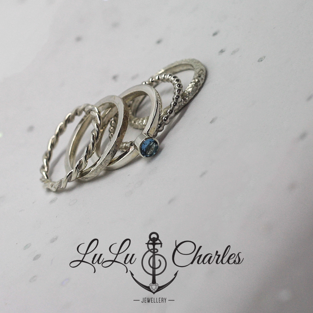 handmade sterling silver aquamarine stacker ring by lulu charles jewellery