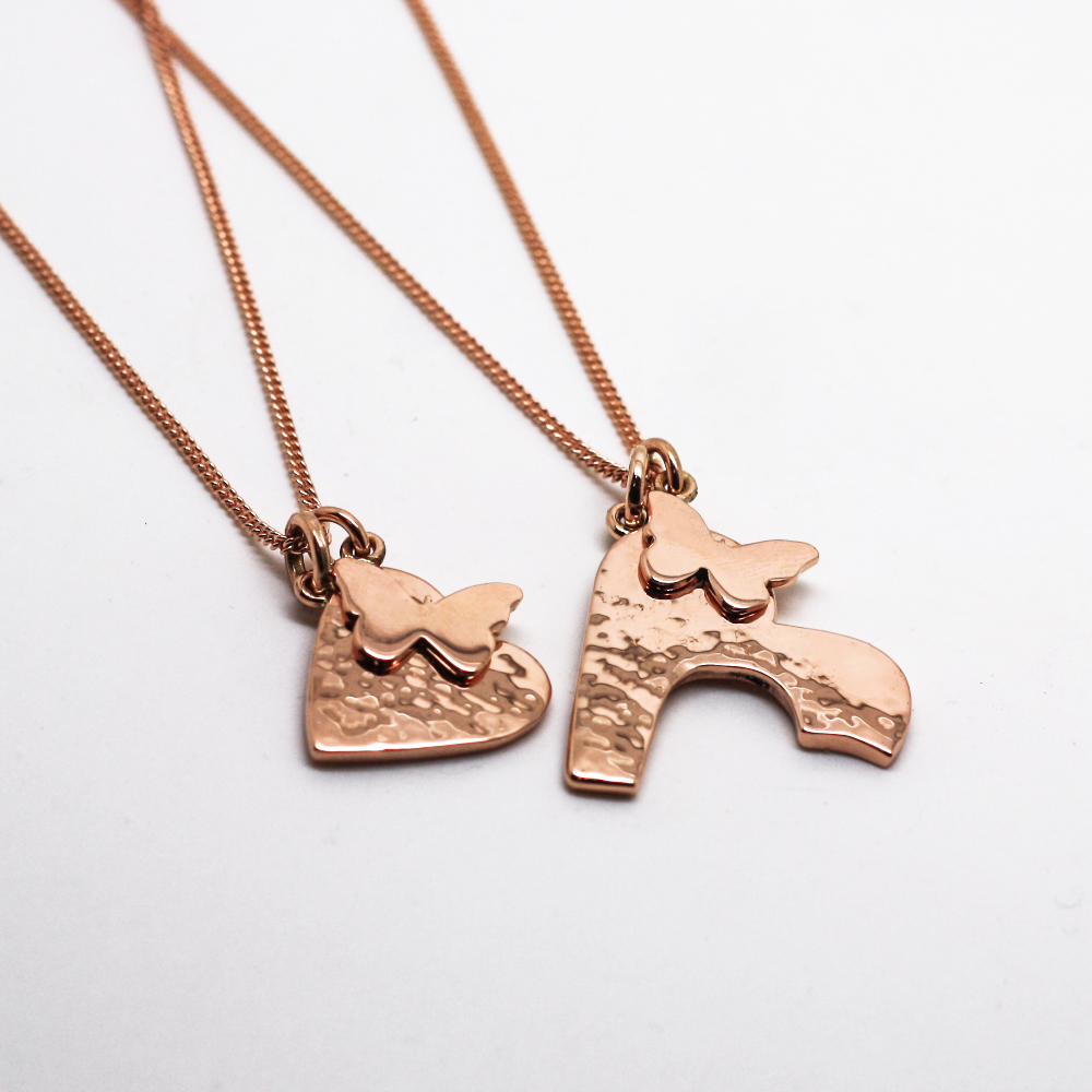 9ct rose gold mother & daughter charm style necklace sets, with 9ct rose gold butterfly charm & hammered interlocking heart pendant, remodelled from customers old gold