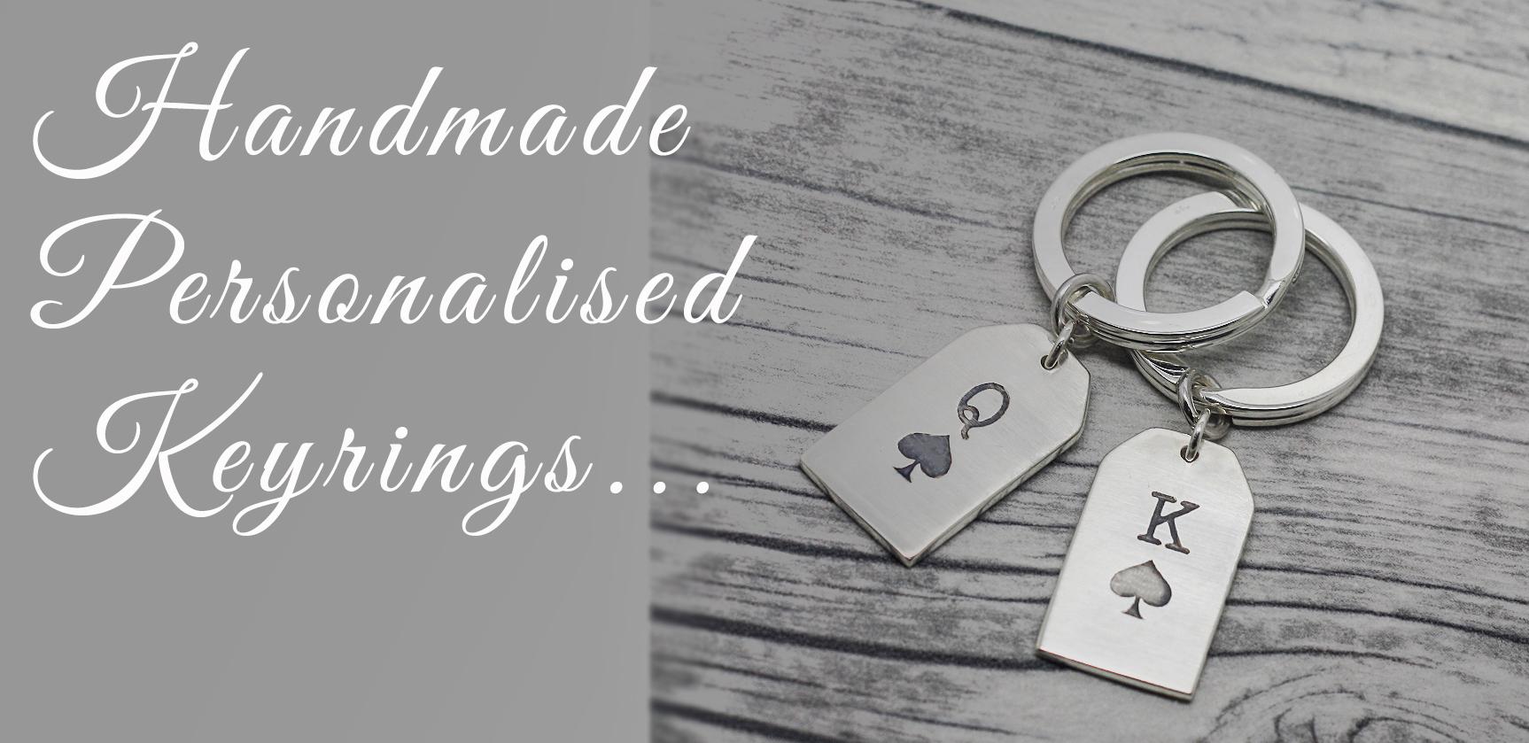 Handmade personalised his & hers sterling silver keyrings uk, wedding day gifts for the bride & groom. by lulu & charles jewellery uk