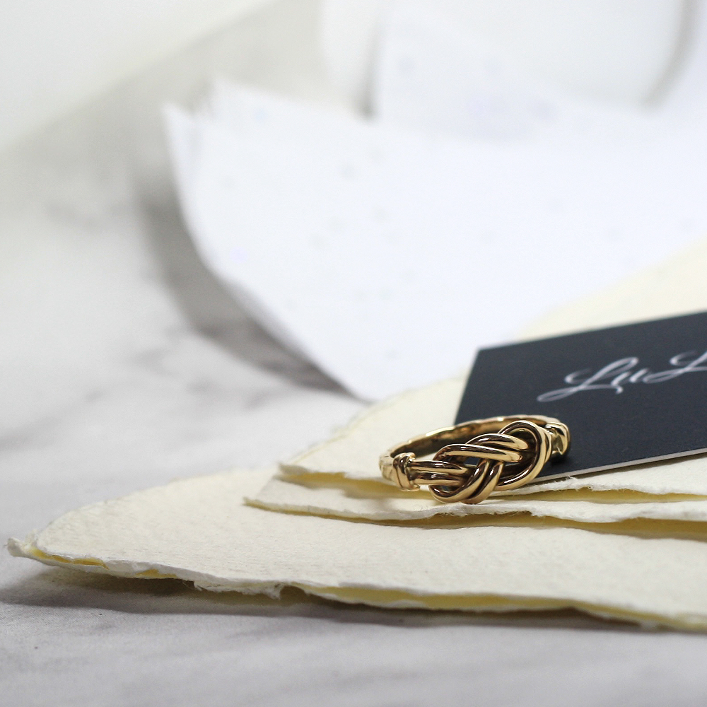 Handmade gold figure of eight knot ring, handmade using customers own sentimental gold jewellery newcastle county durham, handmade jewellery uk