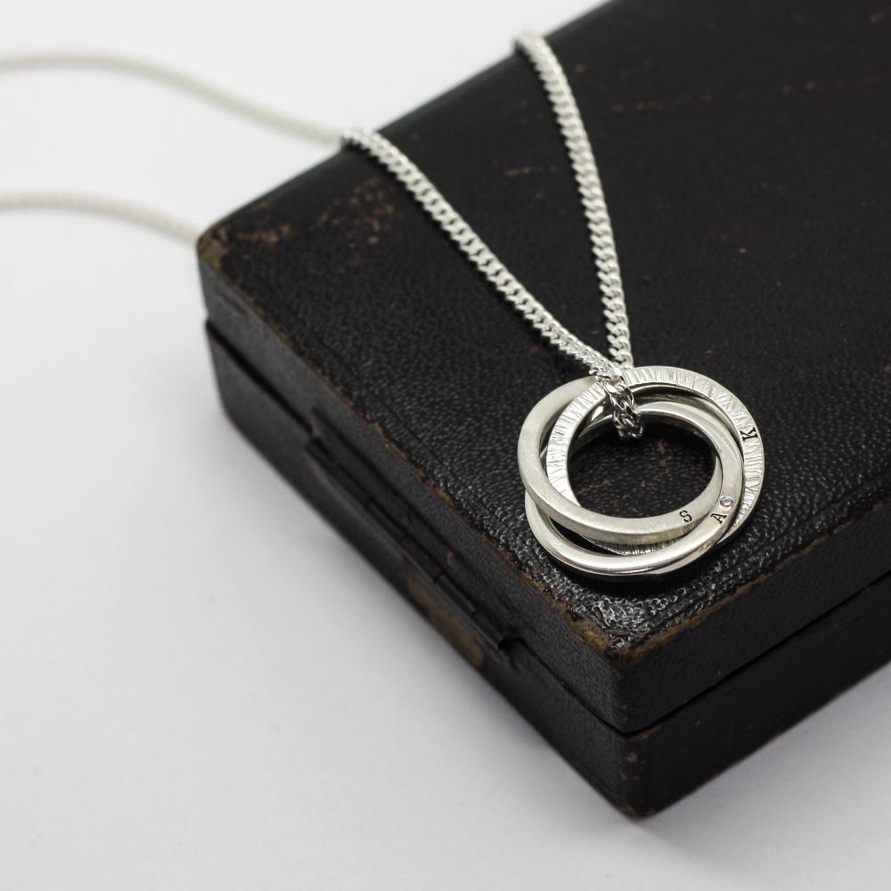 Handmade Personalised Silver Halo Necklace by LuLu & Charles Jewellery, Durham UK
