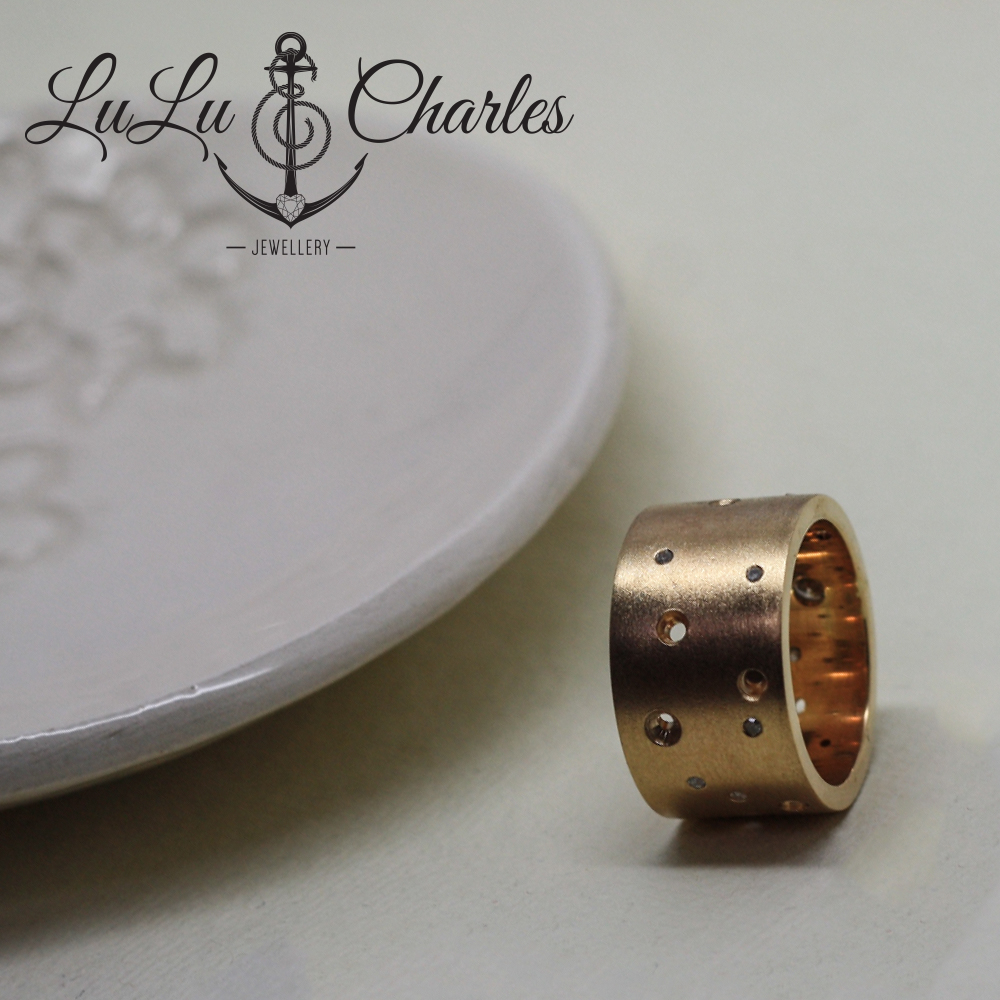 Handmade bespoke 9ct gold ring, remodelled from customers own gold & diamonds. Handmade 9ct gold diamond set chunky band.
