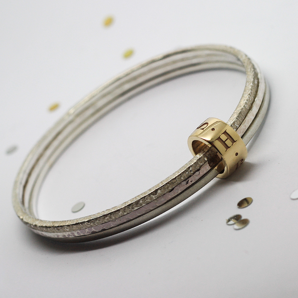 Bespoke Sterling Silver Stacker Bangles with 9ct Yellow Gold Personalised Halo