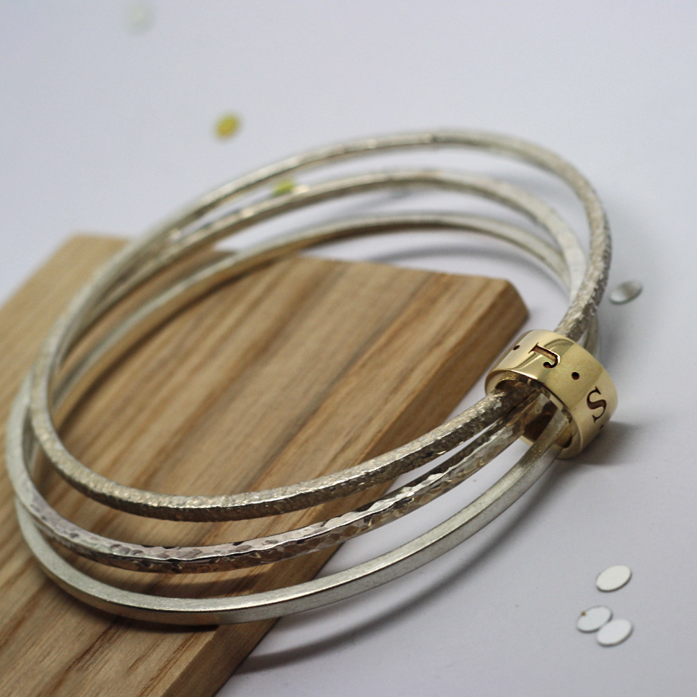 Bespoke Handmade Sterling Silver Stacker Bangles with 9ct Yellow Gold Personalised Halo