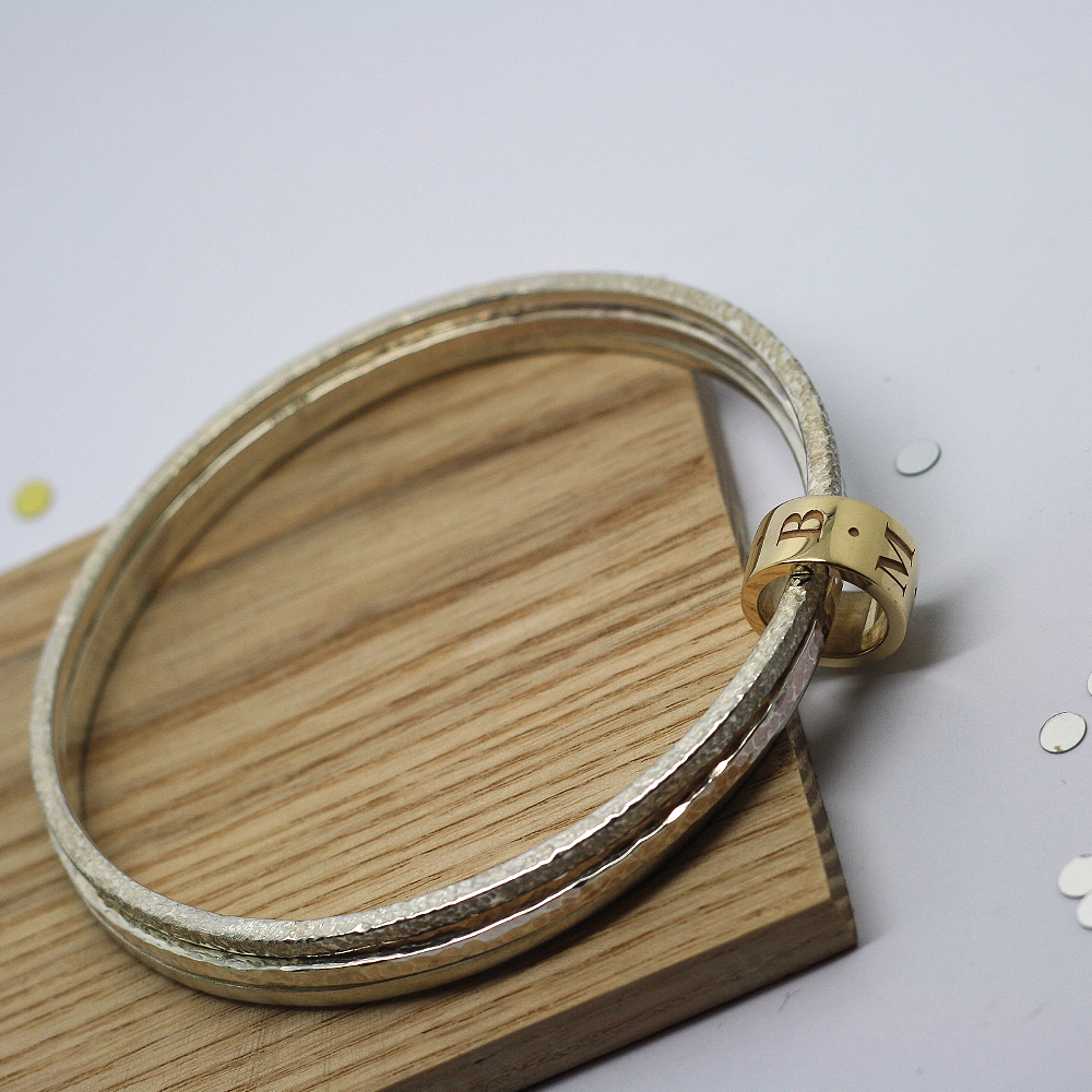 Handmade Bespoke Sterling Silver Stacker Bangles with 9ct Yellow Gold Personalised Halo