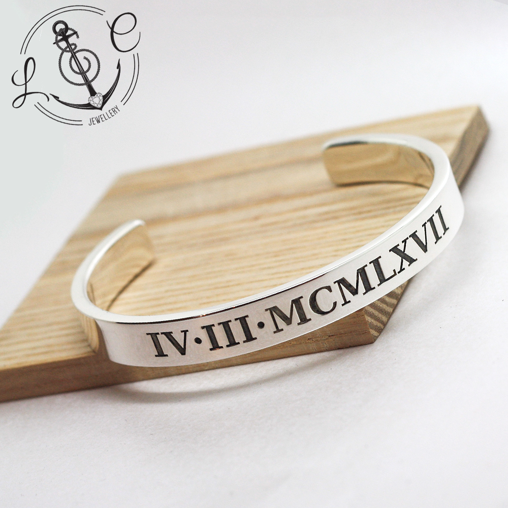 Handmade Sterling Silver Mens Heavy Cuff Bangle, personalised with date of birth in Roman Numerals & Latin inscription.