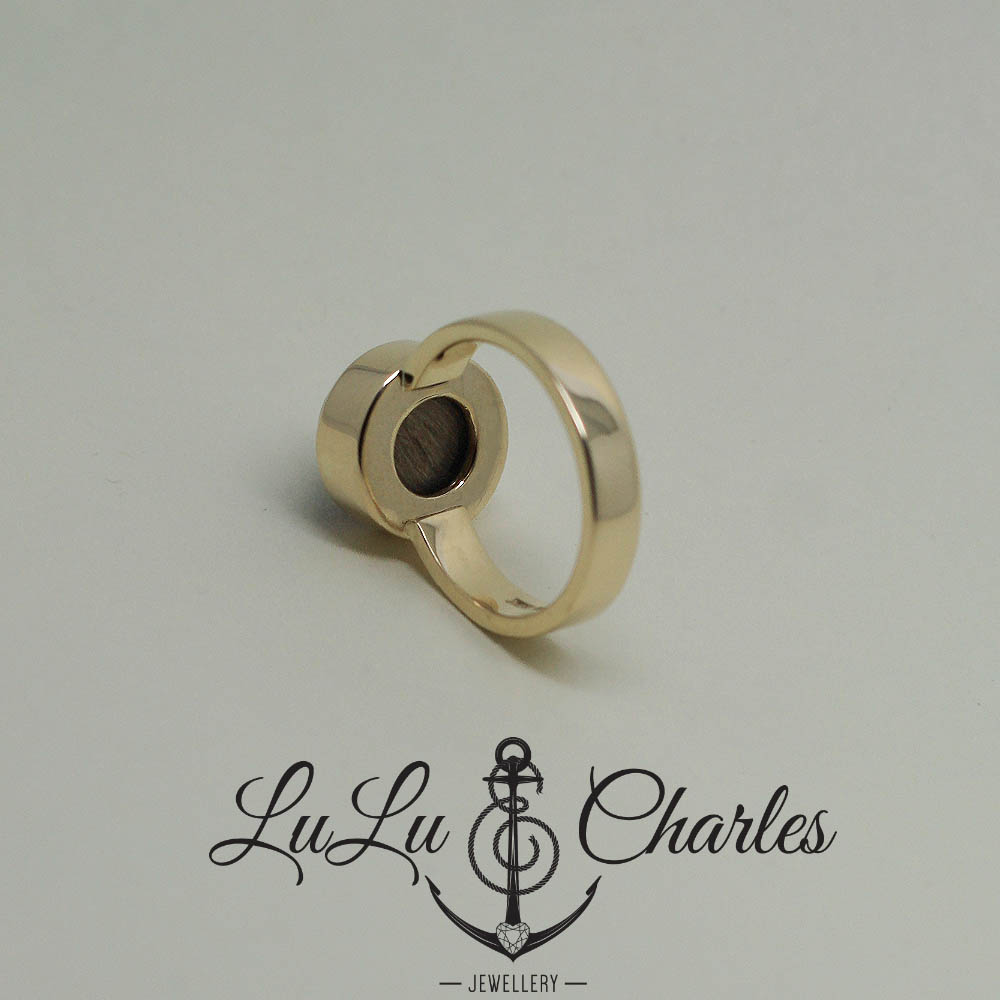 Handmade 9ct yellow gold memorial ring, with a glass back, containing a lock of hair, handmade by lulu & charles jewellery county durham uk