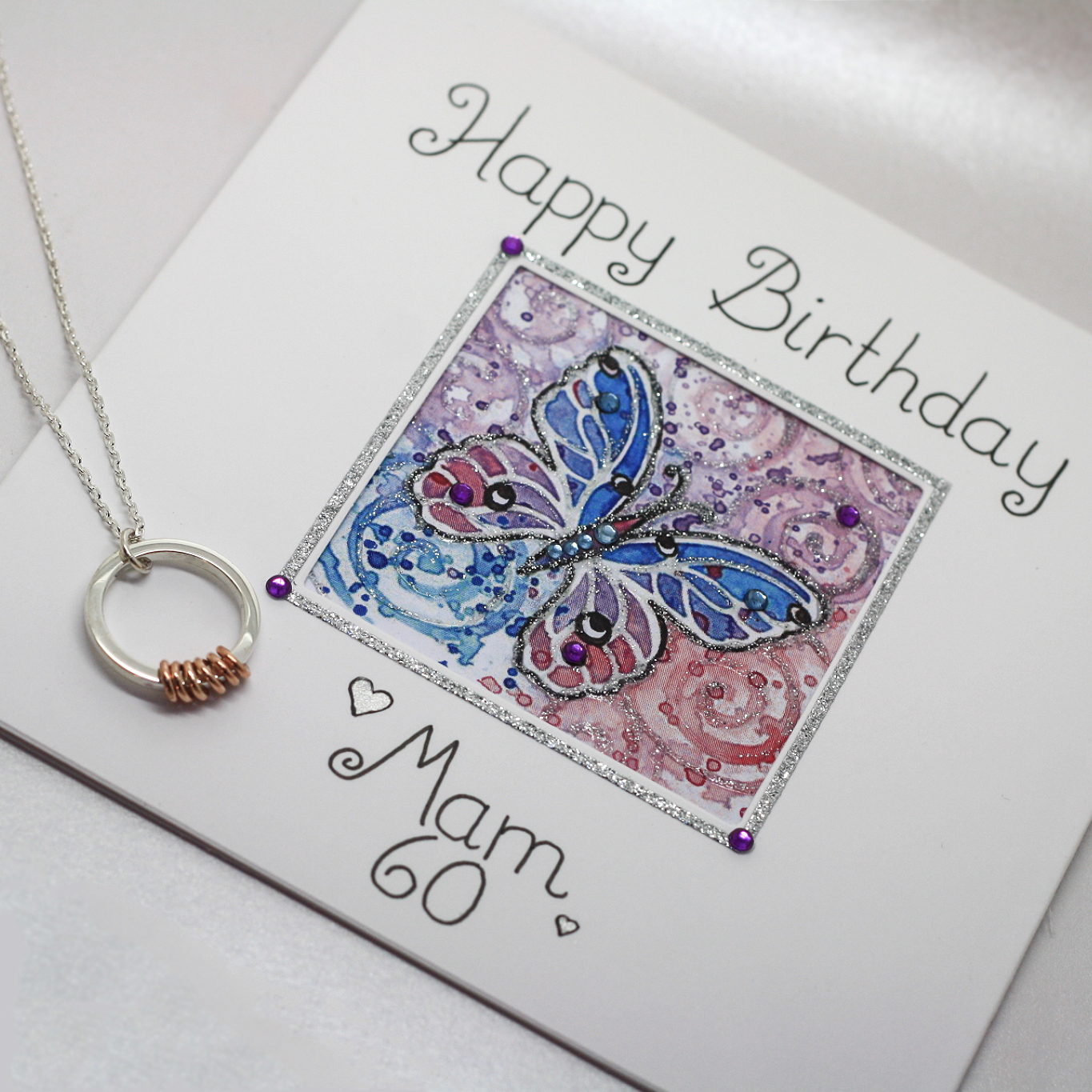 Handmade Sterling Silver & 9ct Rose Gold 60th Birthday Necklace by LuLu & charles Jewellery with Handmade Bespoke 60th Birthday Card by Flutter by Lorraine, County Durham England