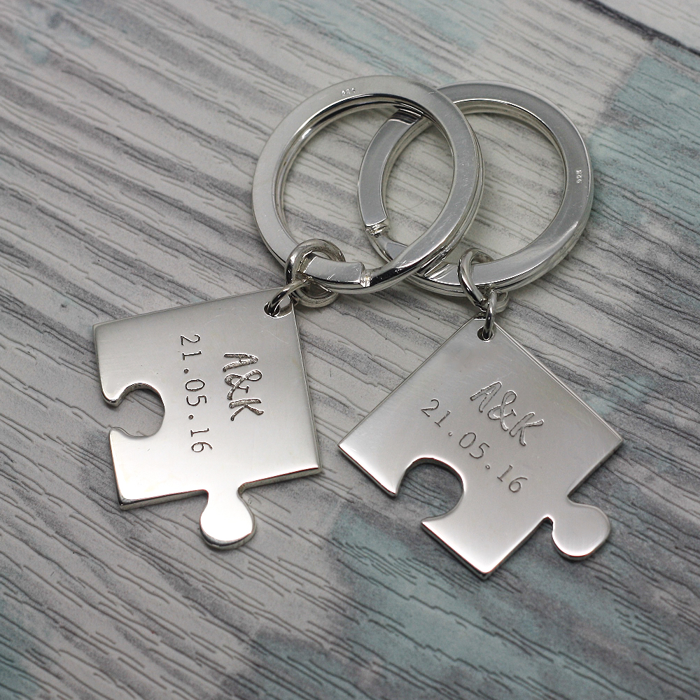 Handmade Sterling Silver Jigsaw Keyrings for Him & Her, personalised with initials & date by lulu & charles jewellery uk