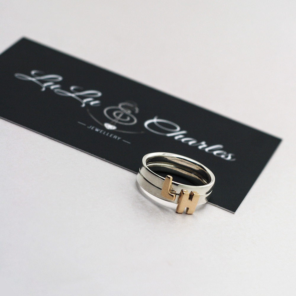 Handmade Sterling Silver Stacker Rings with 9ct Yellow Gold Initials, handmade personalised jewellery uk