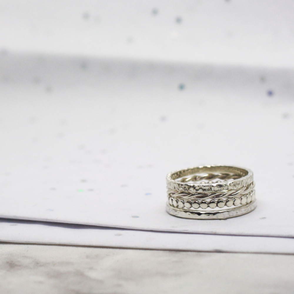 Set of Handmade Sterling Silver Textured Stacker Rings by LuLu & Charles Jewellery, handmade jewellery made from county durham uk