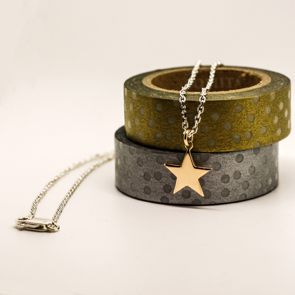 9ct Gold Star Necklace, handmade using customers own sentimental gold jewellery, handmade by Lulu & Charles Jewellery