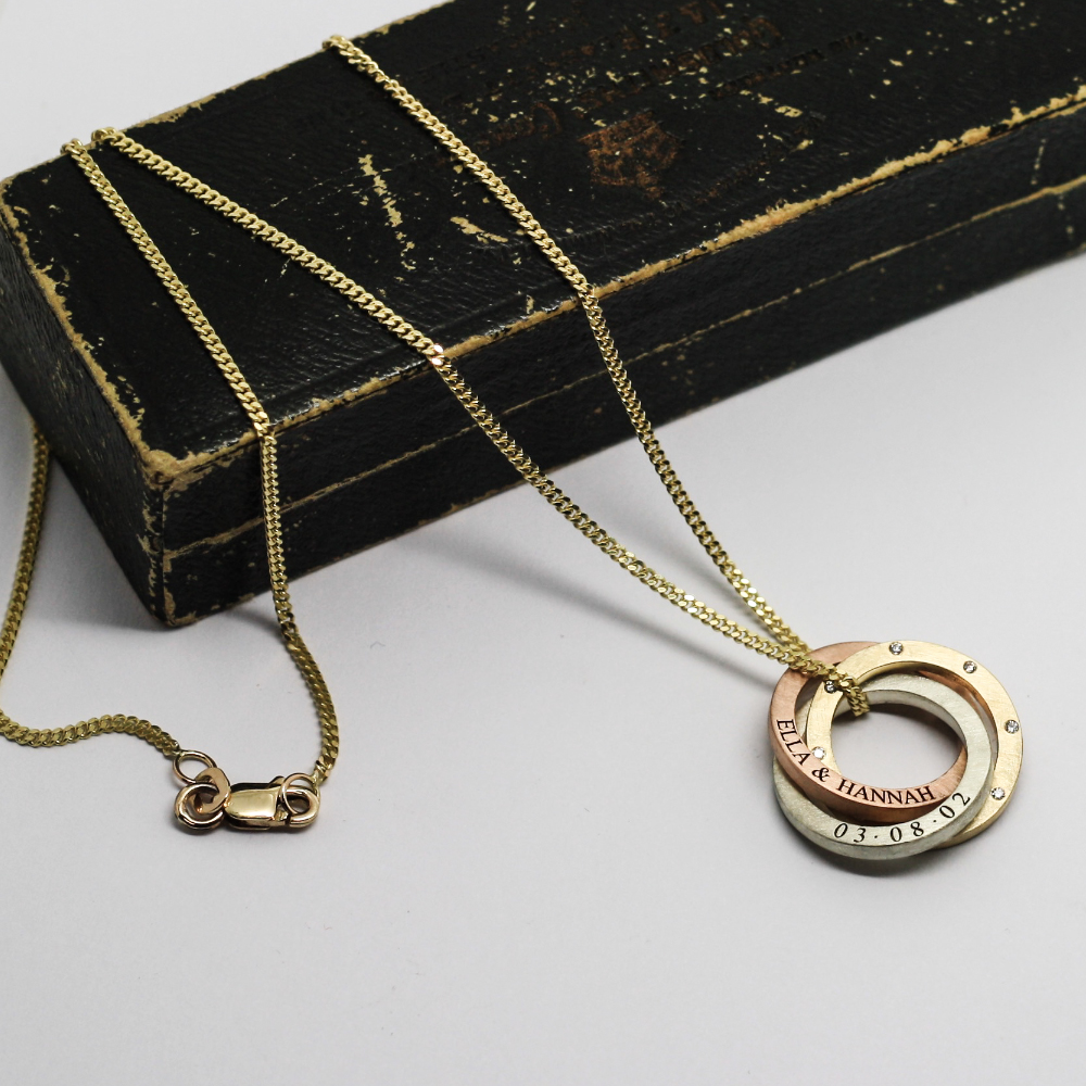 9ct gold entwined halo personalised necklace, handmade in 9ct yellow gold, rose gold & white gold by LuLu & Charles Jewellery, UK.