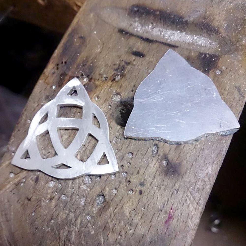 progress shot of a Handmade Sterling Silver Personalised Triquestra Pendant, by LuLu & Charles Jewellery