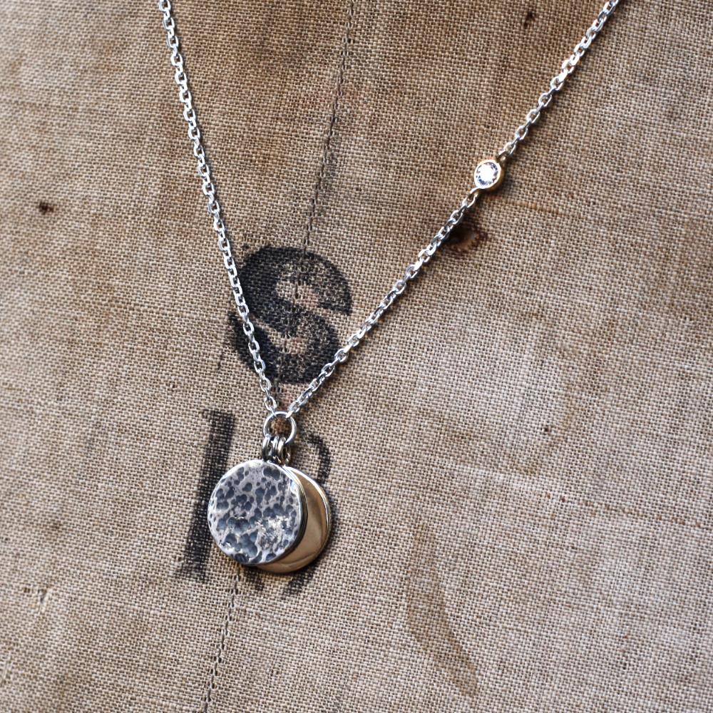9ct gold sun & silver moon necklace, handmade bespoke jewellery by lulu & charles jewellery, handmade in County Durham, uk.