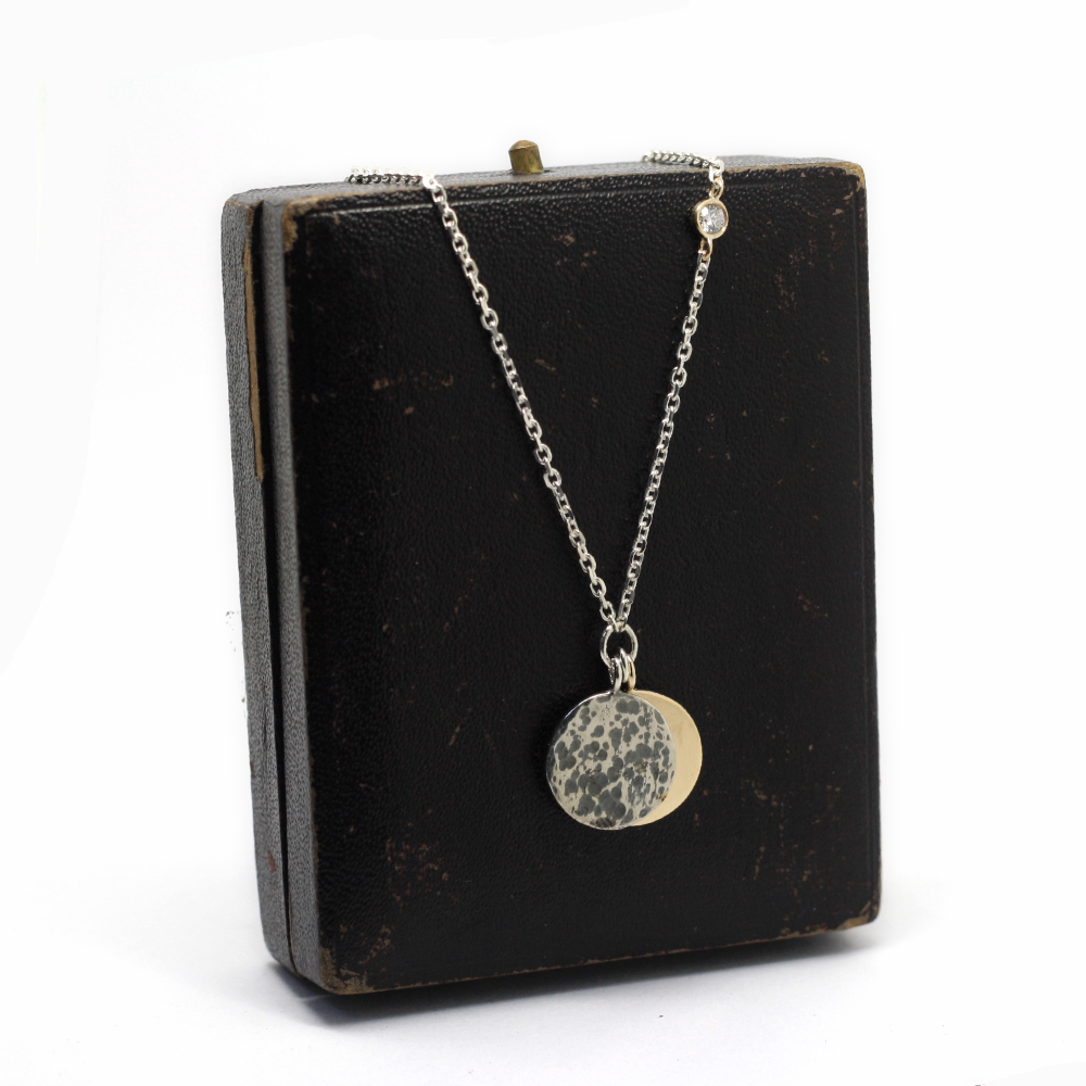 9ct gold sun & silver full moon, solar eclipse necklace, handmade using customers own gold, Handmade Bespoke Jewellery Newcastle, Handmade bespoke jewellery county durham, Handmade jewellery uk, remodelled gold jewellery uk.