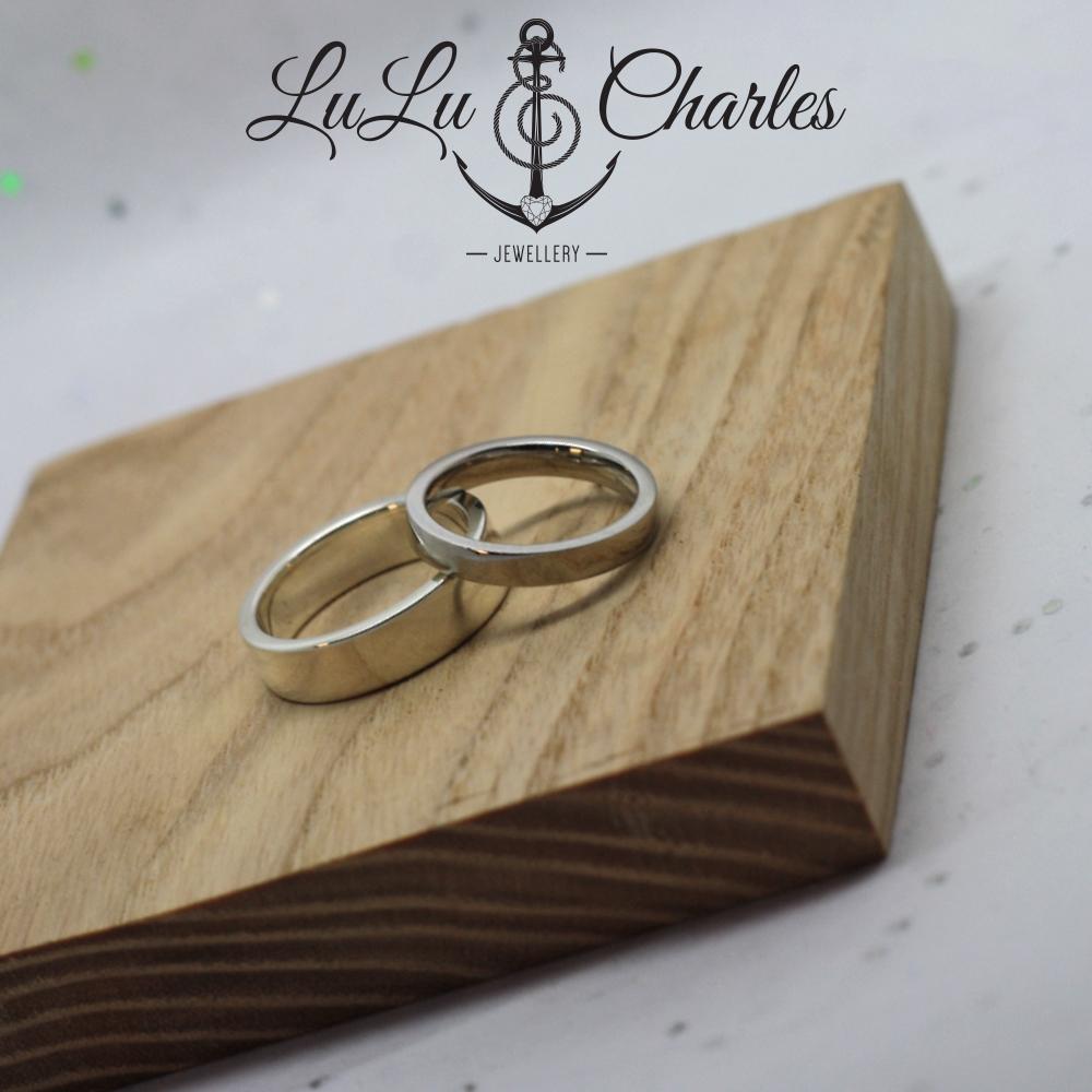 Bespoke wedding rings by lulu & charles jewellery county durham, newcastle tyne & wear, ladies platinum wedding band & gents handmade sterling silver wedding ring, uk