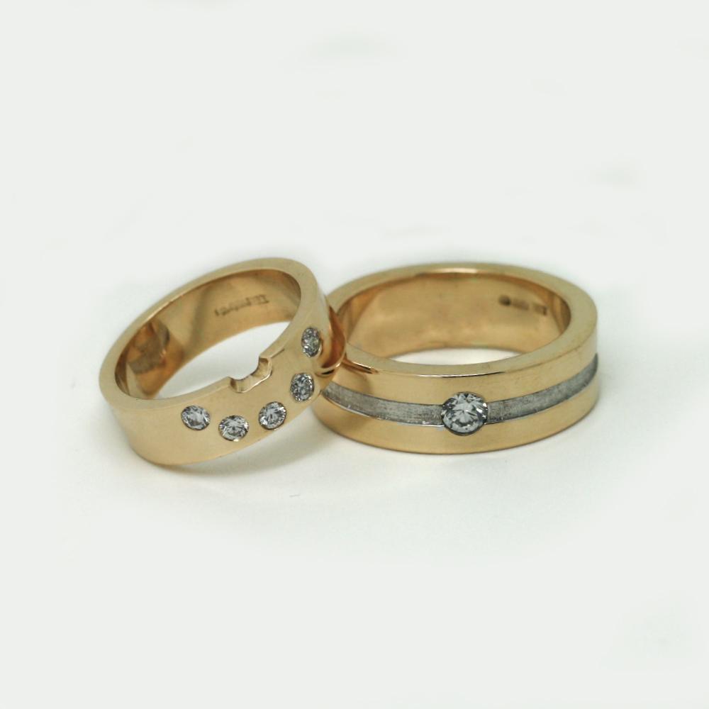 His & Hers Wedding Rings, handmade using customers own gold by LuLu & Charles Jewellery